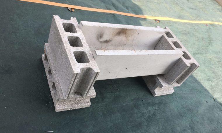 U字溝でバーベキューはコンクリートブロックが必要
